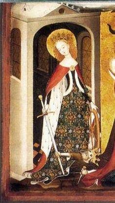 St. Catherine from a Flemish Calvary (c. 1400)  center brooch closing cloak