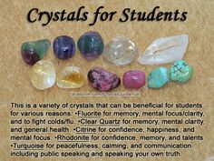 "Crystals for Students — See my full ""Crystals for Students"" article on my site at: http://www.crystalguidance.com/articles/students.html"