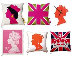 Queen's Diamond Jubilee inspired Modern Home Accessories via www.designloversblog.com   1. Queen Pillow in Pink/Black by Karen Hilton Designs  2. Union Jack Pillow in Hot Pink and Green by Karen Hilton Designs  3. Queen Clock from Hunky Dory Home  4. 16p Stamp Rug by Stamp Rugs  5. Live Like a Queen Pillow by Naked Decor   6. Union Jack and Appliqued Crown Pillow by Karen Hilton Designs