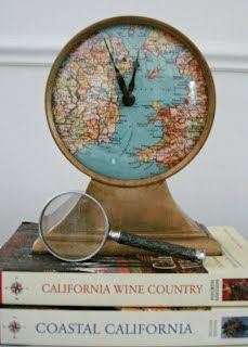 Clock makeover with vintage map, via while wearing heels
