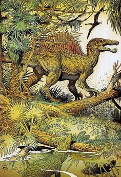 This Spinosaurus by William Stout is obviously obsolete, with its pronated hands and hind legs that are two long, but the detailed rendering of both the dinosaur and its jungle habitat is exquisite. Dinosaur Drawing, Dinosaur Art, Dinosaur Crafts, Prehistoric World, Prehistoric Creatures, Spinosaurus, Les Reptiles, Jurassic Park World, Jurassic Ark