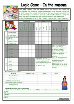 Logic game (30th) *** In the museum *** intermediate *** with key *** created with WORD 2003 - English ESL Worksheets Logic Games, Logic Puzzles, English Teaching Materials, Teaching English, Teaching Jobs, Teaching Science, Logic Problems, Brain Teaser Games, English Games