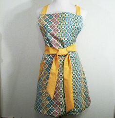 Woman's Reversible No Waist Apron Gold on one by Barb70CraftShop (Accessories, Apron, Full, barb70craftshop, women, home and living, womans apron, gift ideas, womens apron, gift for mom, mothers day apron, full apron, special occasion, woman's full apron, reversible apron, gold aqua apron)
