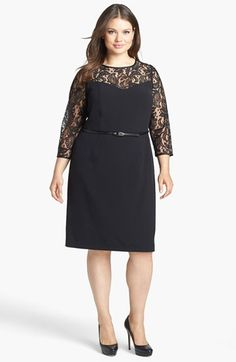 Adrianna Papell Lace Yoke Sheath Dress (Plus Size) available at #Nordstrom