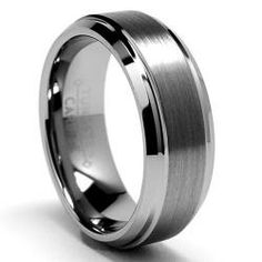 Brushed finish raised center ringTungsten jewelryClick here for ring sizing guide