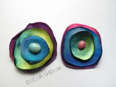 orecchini fiore di stoffa riciclata colorato con perla di vetro fabric jewelry of7 di decorandom su Etsy