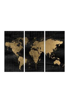 Gold and black world map painting