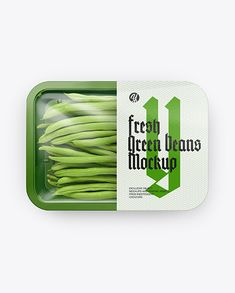 Plastic Tray With Green Beans Mockup – Top View
