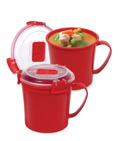 Sip soup or coffee while on the go with these mugs that feature easy-open locking clips with rubberized seals to ensure meals and beverages stay fresh. BPA- and lead-free, they keep food safe while a unique stackable style makes storage simple. Learn about Sistema's Microwave CookwareInclud...