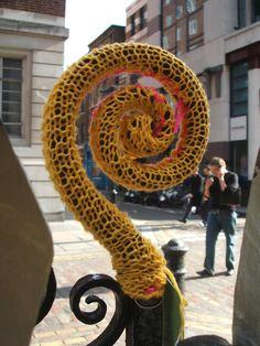 Urban knitting, Broadwick Street, Soho, by London's first graffiti knitters 'Klickety Klick' (2006).