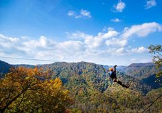 This amazing canopy tour is the fastest and steepest in the U. but between all that thrill it's also the best fall canopy tour in North Carolina. North Carolina Mountains, North Carolina Homes, Beautiful Places To Visit, Places To See, Biltmore Estate, Rappelling, Green River, Blue Ridge Parkway, Travel Alone