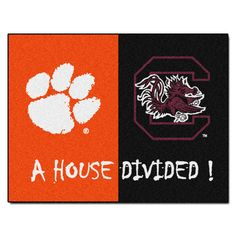 And the rivalry goes on keeping the house divided. Get ready for the biggest game of the year with the Clemson Tigers vs South Carolina Gamecocks house divided area rug. Both durable and attractive the house divided rug features a nylon face carp. Clemson South Carolina, Wichita State, Nylon Carpet, House Divided, Look Plus, Clemson Tigers, Used Vinyl, Floor Mats, Divider