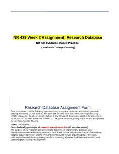 NR 439 Week 3 Assignment