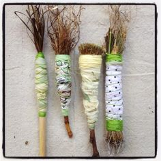 Native plant hand made brushes wrap in clay then paint Painting Tools, Drawing Tools, Calligraphy Tools, Ceramic Tools, Mark Making, Art Plastique, Paint Brushes, Art Techniques, Art Studios