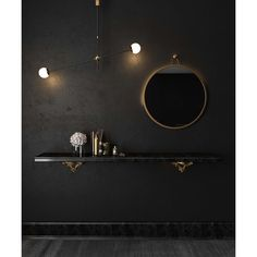 Sleek and chic, the Rowan mirror exemplifies how less is more. Its simple brass colored frame will blend in and enhance any style. Fake Plants Decor, Brass Mirror, Decorative Hooks, Modern Rustic Interiors, Dark Interiors, Round Mirrors, Brass Color, Contemporary Design, Modern Furniture
