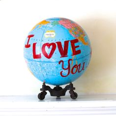 Altered Art Globe Valentines day - i love you the world over - one of a kind art piece for your sweetheart Vestiesteam Red Paper Clip Fund on Etsy, $125.00