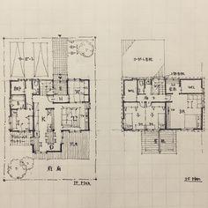 taku sさんはInstagramを利用しています:「木造住宅手書きスケッチvol.15/入隅の家1/2018.01.07 /point:脱衣室はサニタリーとサンルームを兼ねて、南側の明るい位置に配置した。総2階から突き出たダイニングは外観のアクセントとなるよう家型の形状とし、ポップなデザインとした。…」 Japanese House, Tiny House, House Plans, Floor Plans, Cabin, Flooring, How To Plan, Interior, Instagram