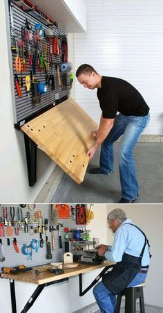 Ditch the Workbench Legs - Bench Solution Folding Workbench Folding Wall-Mounted Workbench by Bench Solution saves valuable floor space, provides a heavy-duty work surface with a load rating, folds down to take up less than 4 inches of garage spa Garage Organisation, Diy Garage Storage, Shed Storage, Home Organization, Workbench Organization, Garage Shelving, Storage Rack, Garage Storage Solutions, Storage Systems