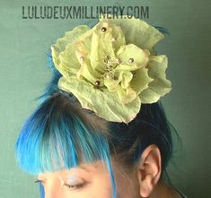 Hand painted green and soft pink organdy flower bridal special occasion headpiece