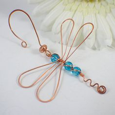 Dragonfly ornament copper sky blue glass wire by SueRunyonDesigns,