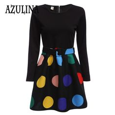 Find More Dresses Information about AZULINA Vintage Women Elegant Dress Long Sleeve Color Block Zipper Type Dress with Belt Large Polka Dot Dress Pleated Vestidos,High Quality dresses lingerie,China zipper Suppliers, Cheap zipper components from Azulina Store on Aliexpress.com