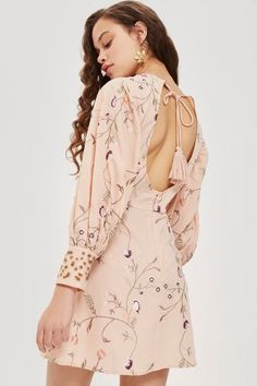 Embroidered Floral Print Dress