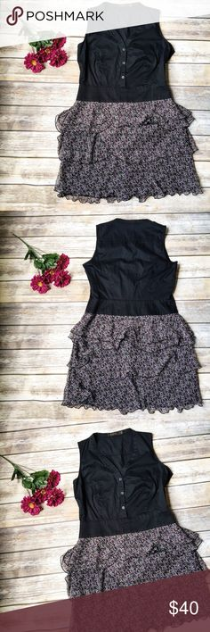 The Limited Gorgeous Ruffle Dress 💙 ★ Like new condition.  ★ This beautiful black and floral ruffles dress from The Limited is an absolute must have! Perfect for summer, your work week chic, and a night out!  ★ Cotton, Spandex, Polyester. ★ NO TRADES! 🚫 ★ NO MODELING! 🚫 ★ YES REASONABLE OFFERS! ✅ ★ Measurements available by request and as soon as possible! 💁🏼 The Limited Dresses