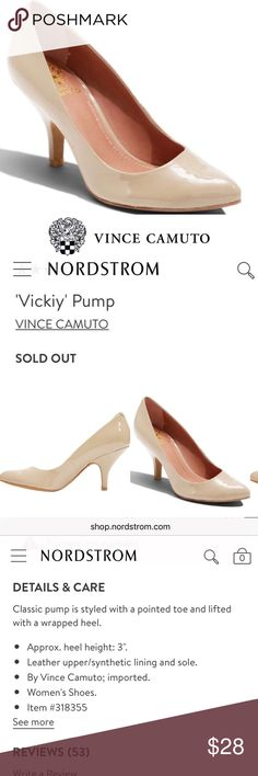Vince Camuto Pointed Toe Nude Patent Vickiy Pump Beautiful, like new, Vince Camuto 'Vickiy Pump' in Nude patent leather with a pointed toe and a 3 in heel. Worn 1x, are unfortunately a little too small for me. Sized 10.5/40.5 but fit more like a 9.5-10. One small nick on the left heel, as shown in last photo, is only visible flaw. Inside lining is peeling a little as well, but cannot be seen obviously when wearing. Vince Camuto Shoes Heels
