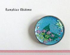This is Obidome. Japanese kimono accessory. あじさいの帯留♪ パール下地 (受注製作)