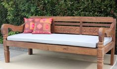 Traditional Balinese Teak Daybed Balcony Furniture, Bench Furniture, Blue Ceilings, Small Patio, Balcony Garden, Teak Wood, Nursery Room, Daybed, Vintage Nursery