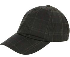 Baseball sports cap in Barbour signature tartan in wax. The Wax Sports Cap is a classic peaked cap made with traditional Barbour waxed cotton with a cotton tartan lining and a brass buckle and strap-adjustable rear.