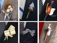 Take a step outside the box and rock a boutonniere that's all about your style. From exotic flowers to miniature guitars, pretty much anything can be used to create a one-of-a-kind lapel accent.