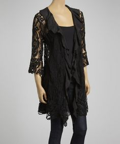 This Black Sheer Roses Open Cardigan by Lady Noiz is perfect! #zulilyfinds