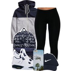 3:29:15 by codeineweeknds on Polyvore featuring Stussy and NIKE