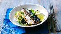 BBC - Food - Recipes : Grilled mackerel with soy lime dressing/ Fresh grilled mackerel is a fantastic supper. Here soy and lime marinade cuts through the richness of the fish. Shellfish Recipes, Seafood Recipes, Cooking Recipes, Healthy Recipes, Delicious Recipes, Mackerel Recipes, Fennel Salad, Lime Dressing, Cooking