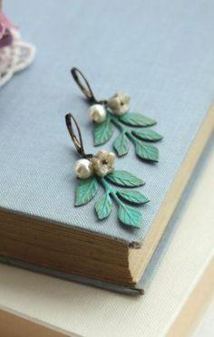 Verdigris Green Brass Leaf, Flower and Pearl Earrings