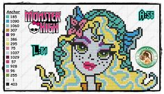 Monster High perler bead pattern by Carina Cassol - http://carinacassol.blogspot.de/ (could use for cross stitch pattern)