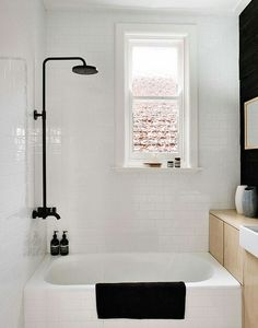 If moving bath to under window, shower can go on end wall, where old boiler cupboard is now