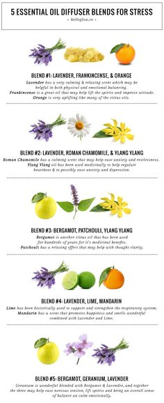 5 Essential Oil Diffuser Blends for Stress   http://helloglow.co/essential-oils-for-stress/