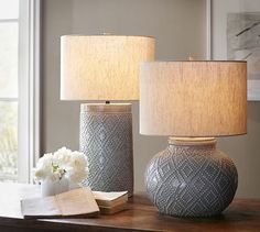 "Charlotte Ceramic Table Lamp Bases | Pottery Barn8"" diameter, 24.25"" high Crafted of ceramic. Hand-applied glazed finish. On/off switch at socket. Pair with any of our Mix & Match® shades (sold  separately). UL-listed. Catalog / Internet Only."
