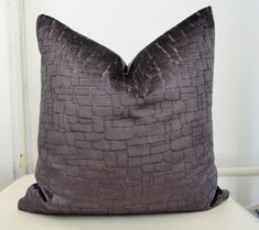 Gray Velvet  Pillow CoverMosaic Pattern Pillow by LaletDesign