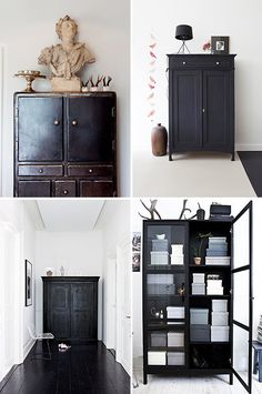 a collection of chic black cabinets / sfgirlbybay