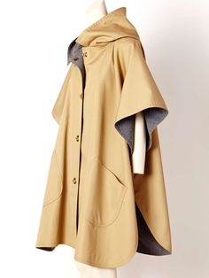 Bonnie Cashin Hooded Cape ~ poplin reversible to grey flannel with turnlocks