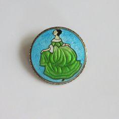 Art Deco Czech Enamel Brooch Dancing Lady Pin by baublology 1920s Jewelry, Enamel Jewelry, Art Deco Jewelry, Antique Jewelry, Vintage Jewelry, Jewellery, Vintage Pins, Vintage Brooches, Summer Jewelry