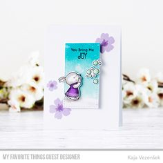 Stamps: Bubble over with Joy, Pressed Flowers  Die-namics: Bubble over with Joy, Stitched Rectangle STAX    Kaja Vesensek  #mftstamps