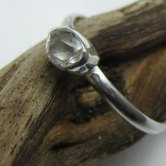*uncut diamond and sterling silver