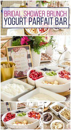 I love this super easy shower brunch idea - a yogurt parfait bar! | brunch food ideas | bridal shower brunch food | baby shower brunch food | yogurt parfait bar | shower food ideas