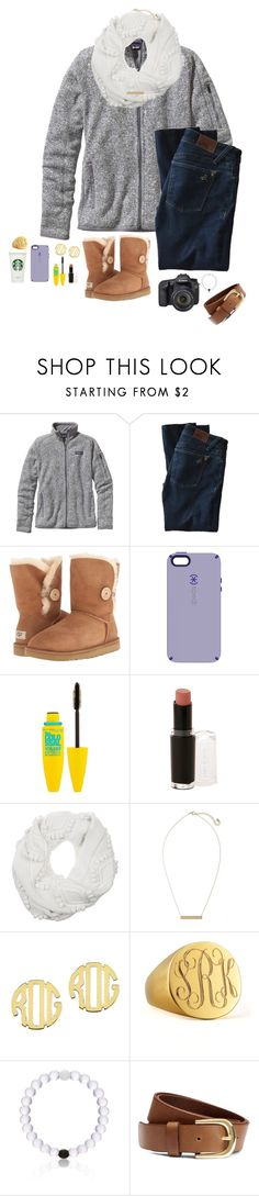 """""""//its 62 degrees here😊\\"""" by sarah-grace-m ❤ liked on Polyvore featuring Patagonia, DL1961 Premium Denim, UGG Australia, Speck, Maybelline, Wet n Wild, 3.1 Phillip Lim, BP., QVC and Eos"""