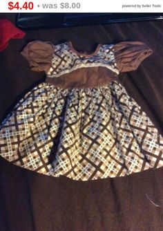 Store Closing Doll dress brown and cream doll dress by EMTWTT