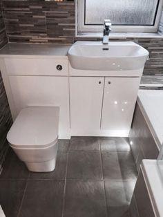 Home Design Ideas Small Bathroom Renovations, Big Bathrooms, Bathroom Photos, Upstairs Bathrooms, Bathroom Design Small, Downstairs Cloakroom, Bathroom Cabinets Over Toilet, Bathroom Vanity Units, Attic Bathroom